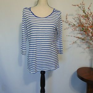 Saturday Sunday Anthropologie Blue Striped Shirt L